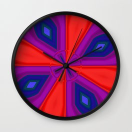 Red, Purple and Gold Quadrant Wall Clock