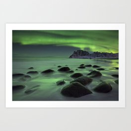 Aurora borealis over a beach on the Lofoten in Norway Art Print