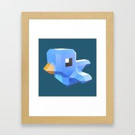 Cute low-poly Twitter bird character Framed Art Print