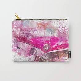 Pink Retro Car mixed media watercolor art Carry-All Pouch