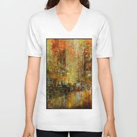 detroit V-neck T-shirts featuring An evening in Detroit by Joe Ganech