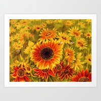 sunflowers Art Prints featuring SUNFLOWERS by Vargamari