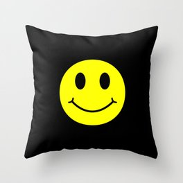 Smiley Happy in yellow color on a black background - EFS166 Throw Pillow