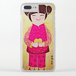Chinese Girl with Mandarin Oranges Clear iPhone Case