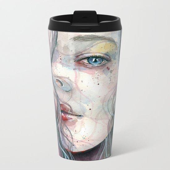 Sleepy violet, watercolor Metal Travel Mug