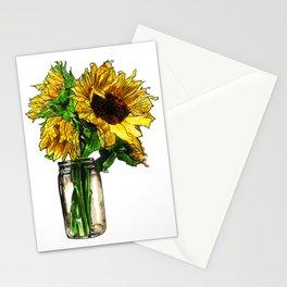 Sunflower In Mason Jar Stationery Cards