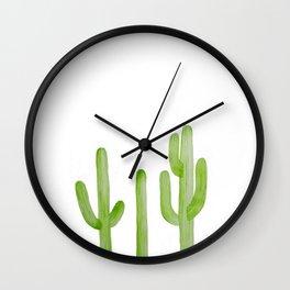 Cactus Row Watercolor Saguaro Wall Clock