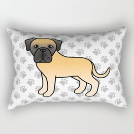 Fawn English Mastiff Dog Cute Cartoon Illustration Rectangular Pillow