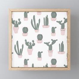 Elegant Cacti in Pots Pattern Framed Mini Art Print