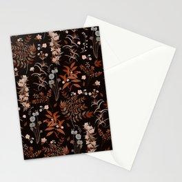 Vintage Autumn Florals on Dark Background Stationery Cards