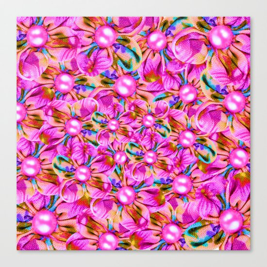 Abstract sewn pink flowers Canvas Print