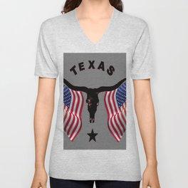 Patriotic American Flag Texas Longhorn Abstract Art Unisex V-Neck
