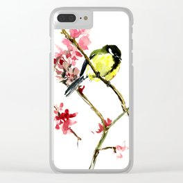 Great Tit and Spring Blossom, Yellow Pink Birds and Flowers Clear iPhone Case