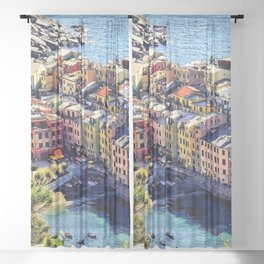 Cinque Terre Vernazza Village Mediterranean Coast, Italy Sheer Curtain