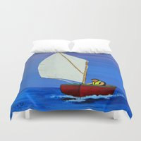 sailboat Duvet Covers featuring Little sailboat by maggs326