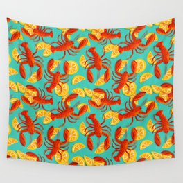 Lobster & Lemons on turqoise background Wall Tapestry