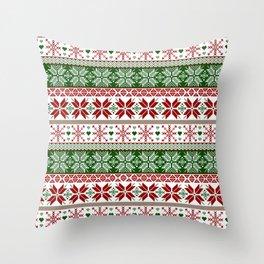 Green & Red Winter Fair Isle Throw Pillow