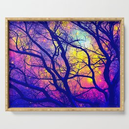 Black Trees Deep Bright & Colorful Space Serving Tray