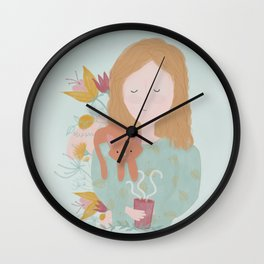 All you need is a cat and some coffee Wall Clock