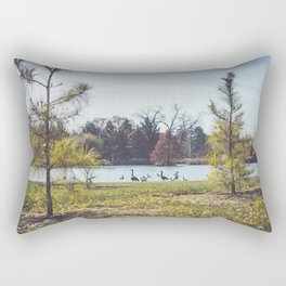 Migrate | Nature Landscape Photography of Birds in Fall Autumn Leaves Trees Rectangular Pillow