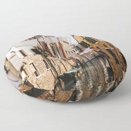 CLOTHING HANGING ON CABLE BETWEEN CONCRETE HOUSES Floor Pillow