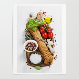 italian pasta with vegetables, herbs, spices, cheese and olive oil Poster