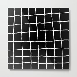 Shaky Grid - Black Metal Print