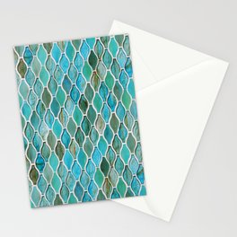 Summery Turquoise Glass Tiles Pattern Stationery Cards