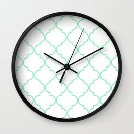 Quatrefoil - Mint Green Wall Clock