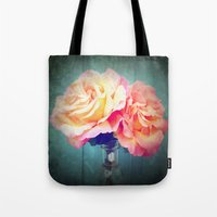 vintage flowers Tote Bags featuring Vintage Flowers by 2sweet4words Designs