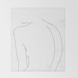 Minimal line drawing of women's body - Alex Throw Blanket