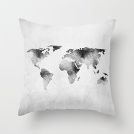 World Map - Hammered Metallic Monochrome Throw Pillow