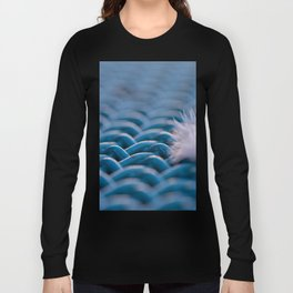 White Soft Feather on a Blue Table Long Sleeve T-shirt
