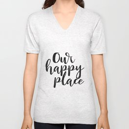 Our Happy Place Printable Kitchen Wall Art Digital Download Love Quote Black and White Large Poster Unisex V-Neck