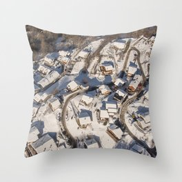 mountain village from the sky Throw Pillow
