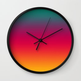 Poseidon - Classic Colorful Warm Abstract Minimal Retro Style Color Gradient Wall Clock