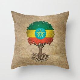 Vintage Tree of Life with Flag of Ethiopia Throw Pillow