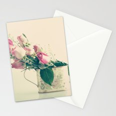 Shabby Chic Roses - Retro Vintage Pink Floral Photography on beige background Stationery Cards