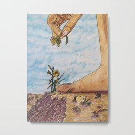 Picking Flowers at the Edge of the World Metal Print