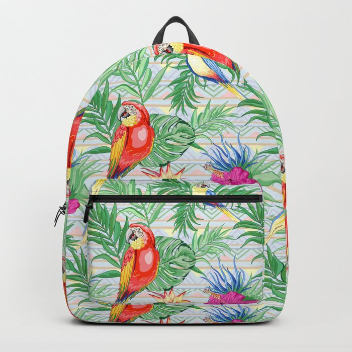 Macaws Parrots Exotic Birds on Tropical Flowers and Leaves Backpack by  bluedarkatlem