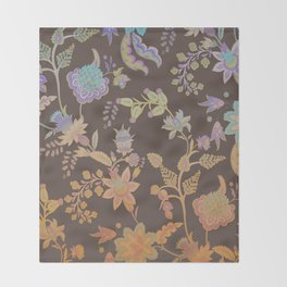 Chateau Brown Chinoiserie Decorative Floral Motif Chintz Throw Blanket