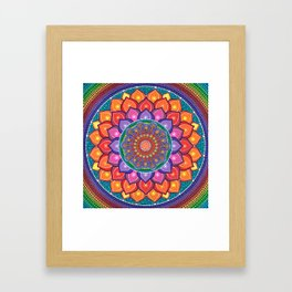 Lotus Rainbow Mandala Framed Art Print