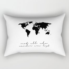 Printable Art,Not All Who Wander Are Lost,Map Of The,World,Wall Art,Home Decor,Travel Rectangular Pillow