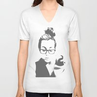 lorde V-neck T-shirts featuring White Teeth Teen by Paxton Keating