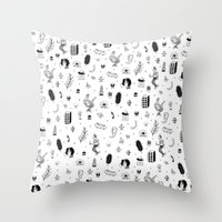 tattoos Throw Pillows featuring Flash Tattoos by Hamburger Hands