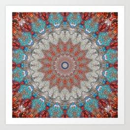 Soft Blue Grey Boho Mandala Art Print