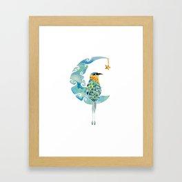 Bobo bird on the moon Framed Art Print
