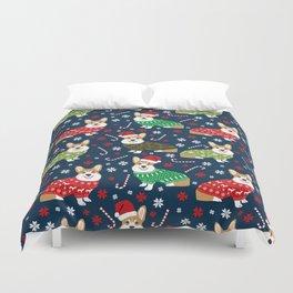 Corgi Christmas Sweaters - corgi christmas, cute corgi gift, corgi lover, christmas blanket Duvet Cover