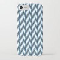 herringbone iPhone & iPod Cases featuring Herringbone Navy by Project M