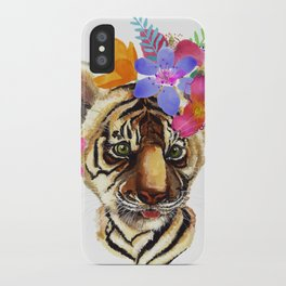 Tiger Cub with Flowers iPhone Case